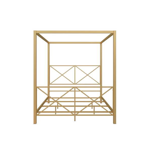 DHP Rosedale Metal Canopy Bed - Full - 72-in x 57-in x 80-in - Gold