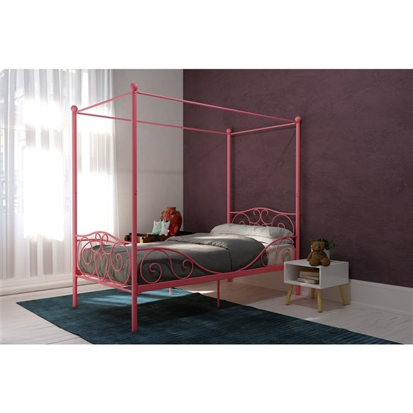 DHP Canopy Metal Bed - Twin - 71.5-in x 41-in x 77.5-in - Pink