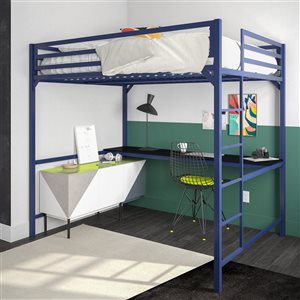 DHP Miles Study Loft Bed - Full - 56.5-in x 77.5-in x 72-in - Blue