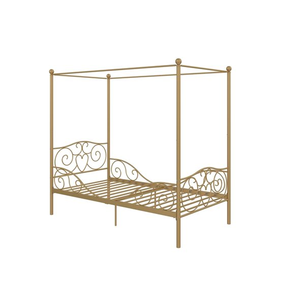 DHP Canopy Metal Bed - Twin - 71.5-in x 41-in x 77.5-in - Gold