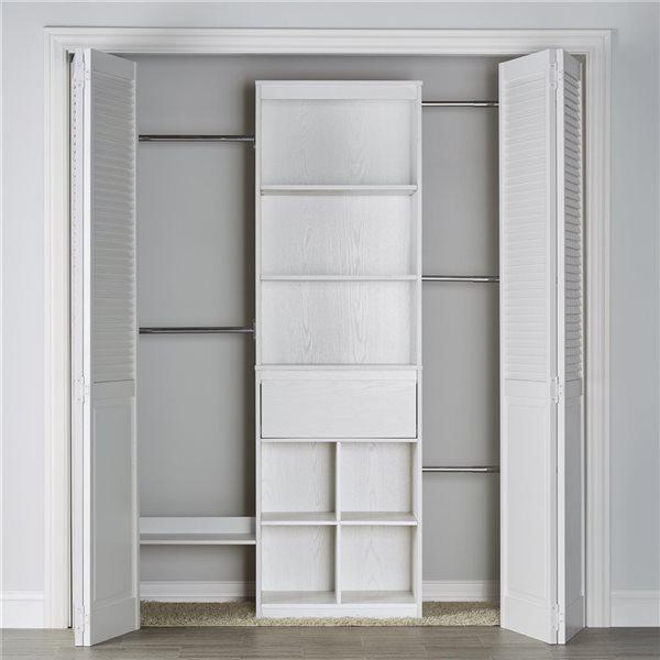 Système organisateur réglable de garde-robe Grow-with-Me de Little Seeds, 15,7 po x 76,6 po, blanc