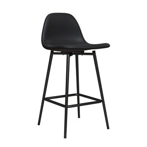 DHP Calvin Upholstered Counter Stool - Black - 2-Pk