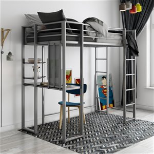 DHP Abode Study Loft Bed - Twin - 42.5-in x 80-in x 72-in - Black