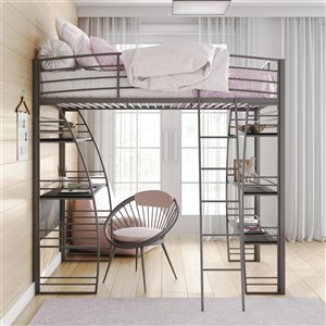 DHP Loft Bed - Twin/Twin - 74-in x 77.5-in x 41.5-in - Silver
