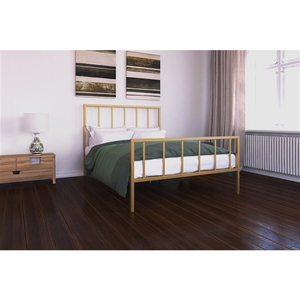 DHP Stella Metal Bed - Queen - 46-in x 62-in x 82.5-in - Gold