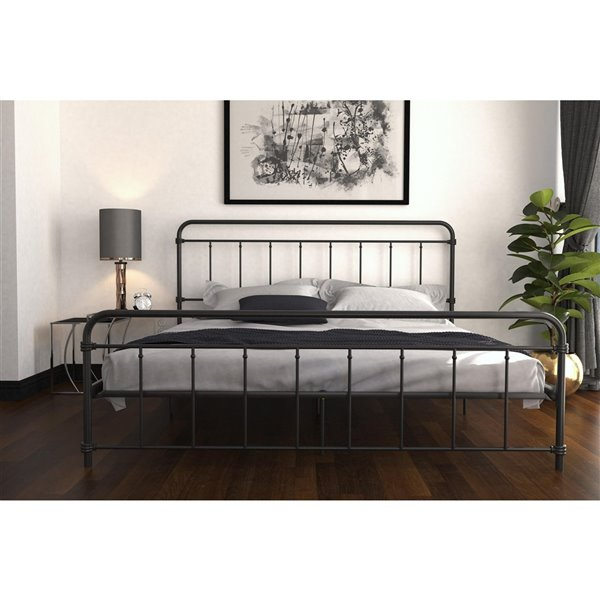 DHP Wallace Metal Bed - King - 46-in x 79-in x 83.5-in - Black
