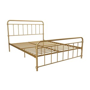 DHP Wallace Metal Bed - Queen - 46-in x 63-in x 83.5-in - Gold