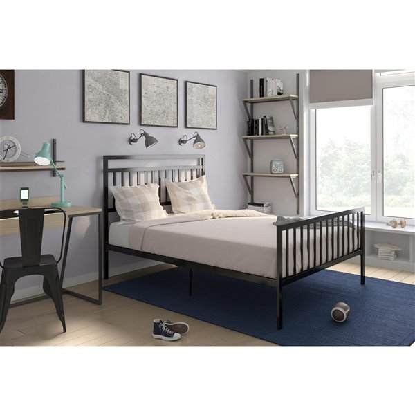 DHP Jackson Modern Metal Bed - Queen - 46-in x 62.5-in x 81.5-in - Black