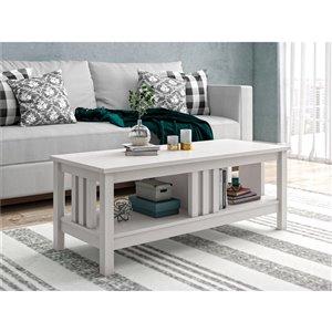 Table de salon Adams de Ameriwood, 19,17 po x 47,56 po x 17,89 po, chêne ivoire