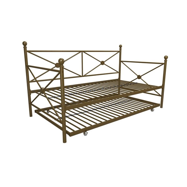 DHP Lubin Daybed and Trundle - Twin - 43-in x 41.5-in x 77.5-in - Gold