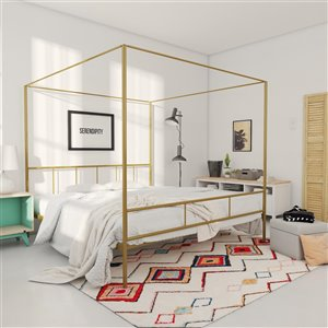 Novogratz Marion Canopy Bed - King - 73-in x 78-in x 82.5-in - Gold