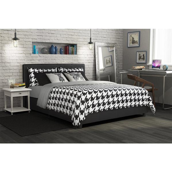 DHP Maddie Upholstered Bed - Full - 39.5-in x 58.5-in x 79-in - Black