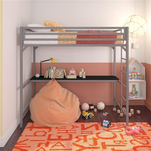 DHP Miles Study Loft Bed - Twin - 41.5-in x 77.5-in x 72-in - Black