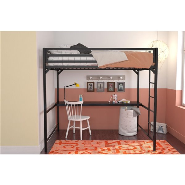 DHP Miles Study Loft Bed - Twin - 41.5-in x 77.5-in x 50-in - Blue