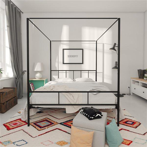 Novogratz Marion Canopy Bed - Queen - 73-in x 62-in x 82.5-in - Black