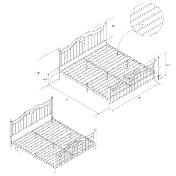 DHP Tokyo Metal Bed - King - 44.5-in x 78-in x 83-in - Bronze