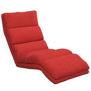 Chaise longue réglable avec mousse-mémoire Beverly de DHP, 25,5 po, rouge
