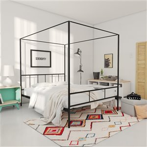 Novogratz Marion Canopy Bed - Full - 73-in x 56-in x 77-in - Black