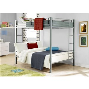 DHP Bunk Bed - Full/Full - 72-in x 78.5-in x 56.5-in - Silver
