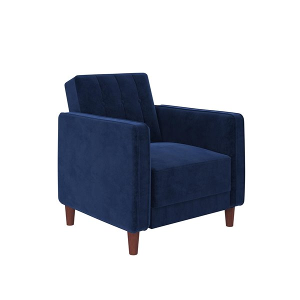 Chaise capitonnée DHP, 18,5 po, velours bleu