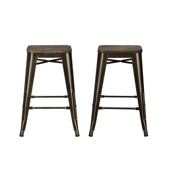 DHP Fusion Metal Backless Counter Stool - 24-in - Bronze - 2-Pk