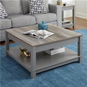 Table de salon Carver de Ameriwood, 35,4 po x 35,4 po x 17 po, gris