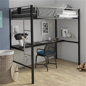 DHP Loft Bed - Twin/Twin - 72-in x 77.5-in x 41-in - Black