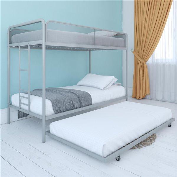 Dhp Triple Bunk Bed Twin Twin 41 5 In X 77 5 In X 62 In Black 4299019 Rona
