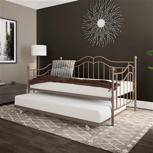DHP Tokyo Metal Daybed and Trundle - Twin - 41.5-in x 42.5-in x 77.5-in - Bronze