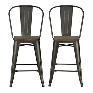 DHP Luxor Metal Counter Stool - 24-in - Copper - 2-Pk