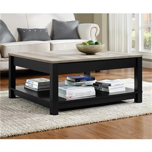 Ameriwood Carver Coffee Table - 35.4-in x 35.4-in x 17-in - Black