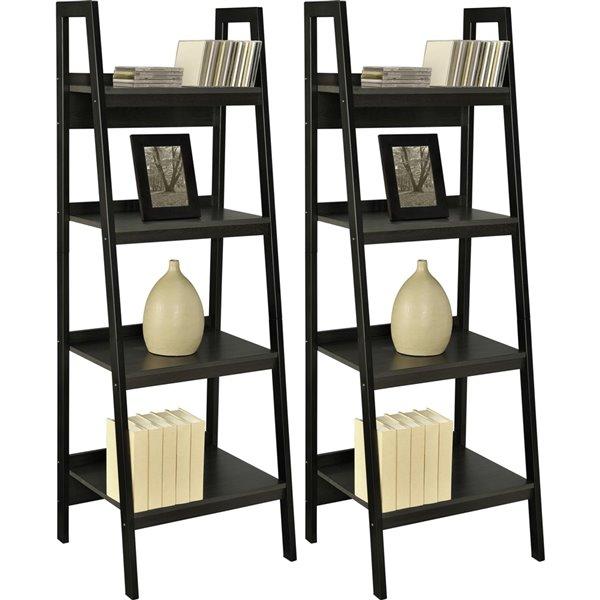 Ameriwood Lawrence 4-Shelf Ladder Bookcase Bundle - 20.56-in x 60-in - Black