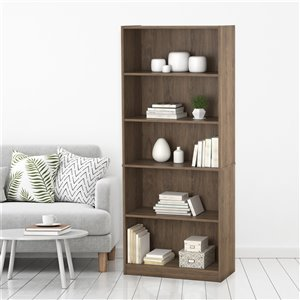 Ameriwood Hayden 5-Shelf Bookcase - 27.44-in x 71.5-in - Rus