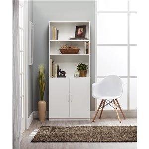Bibliothèque avec portes Moberly de Ameriwood, 29,69 po x 70,63 po, blanc