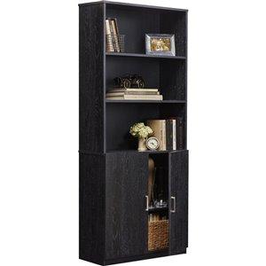 Bibliothèque avec portes Moberly de Ameriwood, 29,69 po x 70,63 po, chêne noir