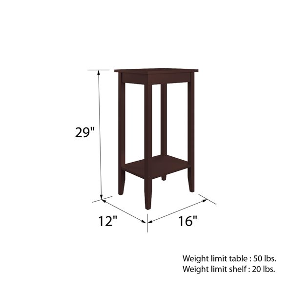 DHP Rosewood Tall End Table - 12-in x 16-in x 29-in - Brown
