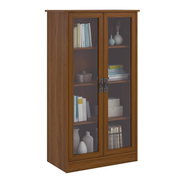 Ameriwood Quinton Point Bookcase with Glass Doors - 29.56-in x 53.25-in - Brown Oak