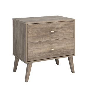 Prepac Milo 2-drawer Nightstand, Drifted Gray