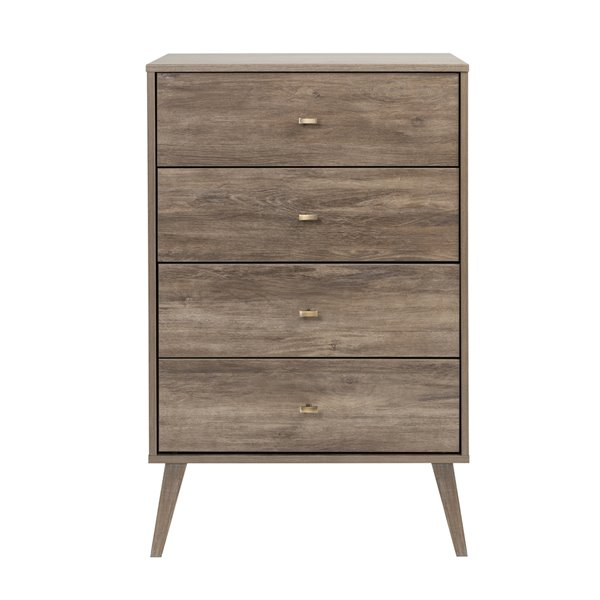 Prepac Milo 4-drawer Chest in Drifted Gray Finish - 26.5-in x 16-in x 41-in