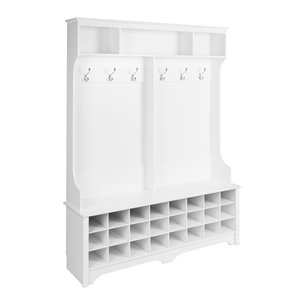 Prepac Wide Hall Tree with 24 Shoe Cubbies in White Finish - 77-in x 60-in x 15.5-in