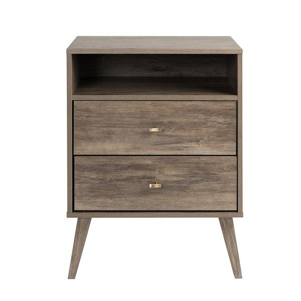 Table de chevet haute de Prepac à 2 tiroirs et tablette, gris bois de grève