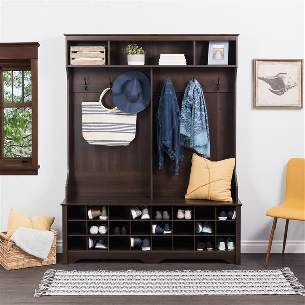Prepac Wide Hall Tree with 24 Shoe Cubbies in Espresso Finish - 77-in x 60-in x 15.5-in