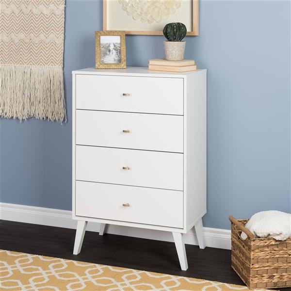 Prepac Milo 4-drawer Chest in White Finish - 26.5-in x 16-in x 41-in