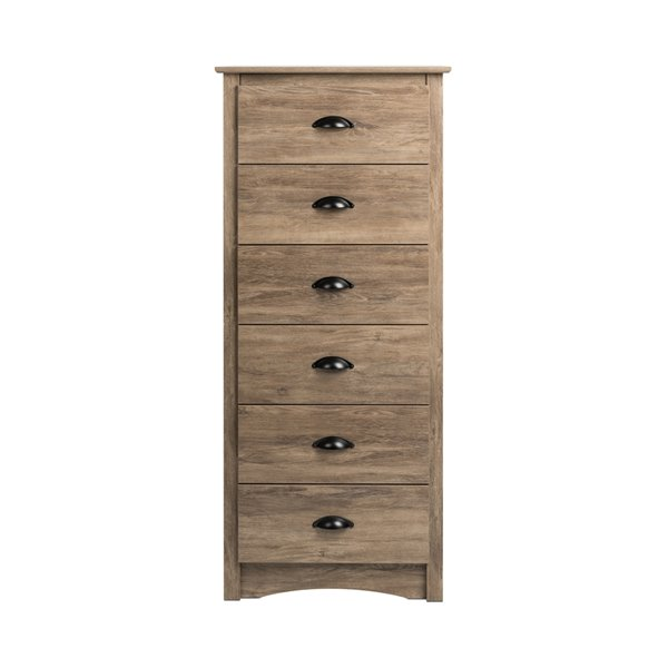 Prepac Salt Spring Tall 6-drawer Chest in Drifted Gray Finish,  23.25-in x 17.75-in x 53-in