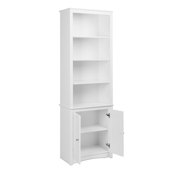 Prepac Tall Bookcase with 2 Shaker Doors in White Finish - 80-in