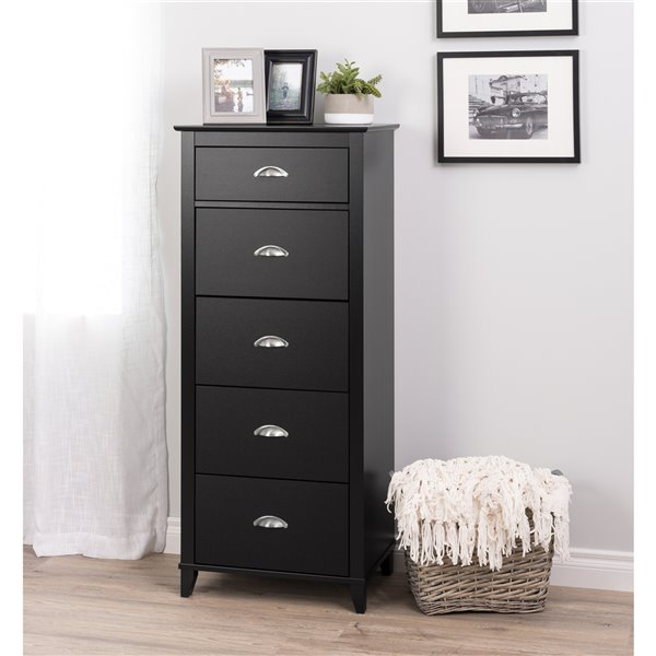 Prepac Yaletown 5-Drawer Tall Chest in Black Finish - 23-in x 16-in x 52.5-in