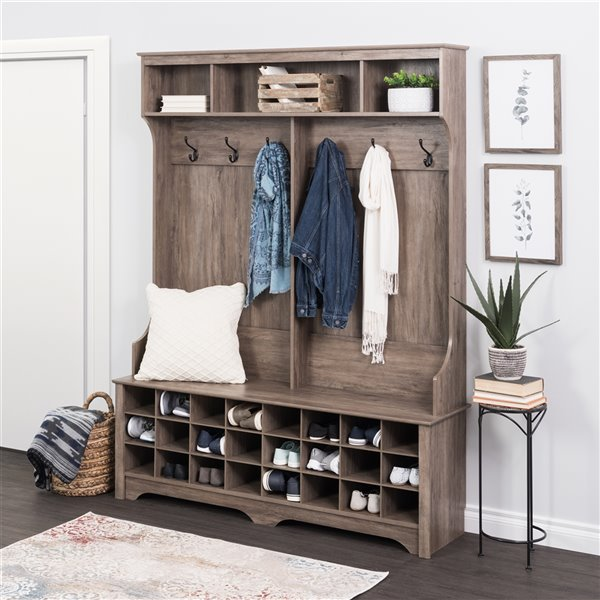 """Prepac 60"""" Wide Hall Tree with 24 Shoe Cubbies in Drifted Gray Finish - 77-in x 60-in x 15.5-in"""