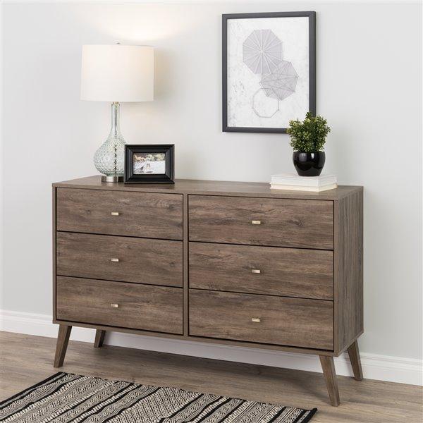 Prepac Milo 6-drawer Dresser in Drifted Gray Finish - 52.25-in