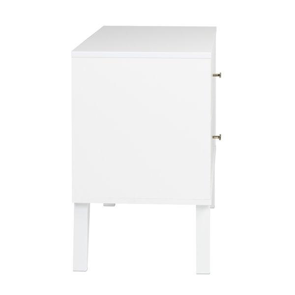 Table de chevet Milo de Prepac à deux tiroirs, blanche