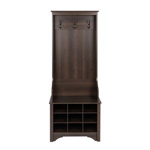 Prepac Narrow Hall Tree with 9 Shoe Cubbies in Espresso Finish - 68-in x 27-in x 15.5-in